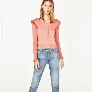 Zara ruffled pink cardigan-EUC